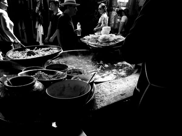 Men One Person Food Close-up Adults Only One Man Only Adult People Day Thai Noodle Style Food Photography Black & White Balck And White Photography Jj_blackwhite Weekend Market JJ Market Noodles Market Colors Marketday