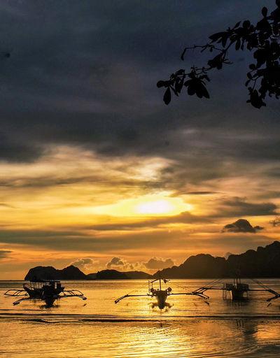 ASIA Philipines Beach Cloud - Sky Nature Nautical Vessel Orange Color Outdoors Scenery Sea Silhouette Sky Sunset Tranquility Transportation