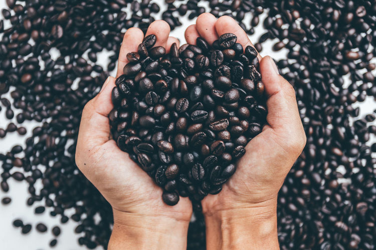 Abundance Body Part Close-up Coffee Coffee - Drink Finger Food Food And Drink Freshness Hand Hands Cupped Healthy Eating High Angle View Holding Human Body Part Human Hand Indoors  Large Group Of Objects One Person Real People Ripe Roasted Coffee Bean