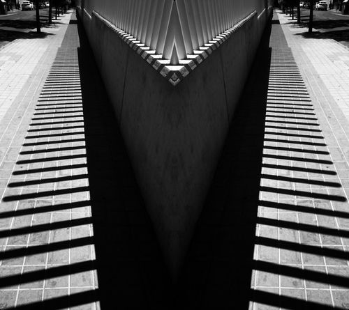 Stripes Architecture Black And White Blackandwhite Built Structure Connection Day Diminishing Perspective Direction Footpath High Angle View Indoors  Long Metal Monochrome No People Pattern Railing Staircase Steps And Staircases The Way Forward