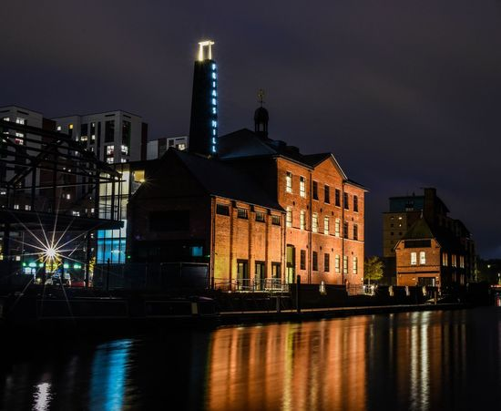 Night Nightphotography Nightscape Digitalphotography Documentaryphotography Landscape Destinations Landscapephotography Outdoor Travel Leicester Friars Mill Canal Waterway Long Exposure Cityscape Silkywaters D750 Nikon Nikonphotography City Cityscape Urban Skyline Illuminated Nightlife Water Skyscraper Reflection Business Finance And Industry Sky