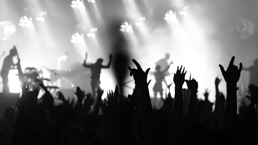 Silhouette people with arms raised enjoying music concert during night