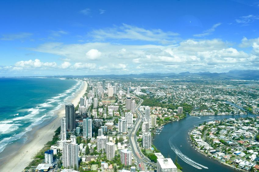 Aerial View Architecture City City Life Cityscape Cloud - Sky Gold Coast Gold Coast Australia High Angle View Horizon Over Water Modern Scenics Sea Sky Skyscraper Surfers Paradise Surfers Paradise, Australia Travel Travel Destination Travel Destinations Travel Photography Water