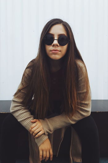 Long Hair Sunglasses Only Women One Woman Only One Person Portrait Adult Adults Only People Fashion Looking At Camera Young Adult One Young Woman Only Women Young Women Beautiful Woman Indoors  Human Body Part Day