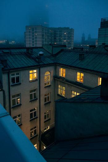 Foggy evening.