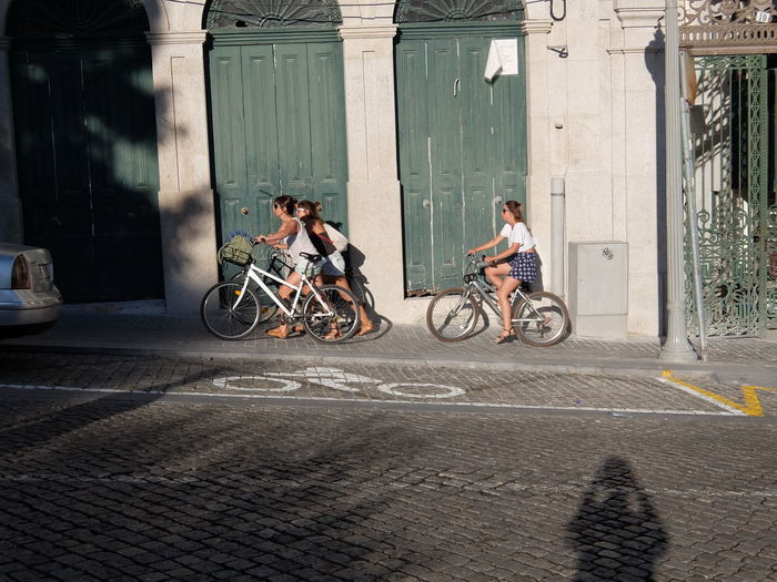 Bicycle Doors Green Leisure Activity Lifestyles Motorcycle Riding Shadows & Lights Transportation Women Streetphotography_fujifilm Adventure Club People Together
