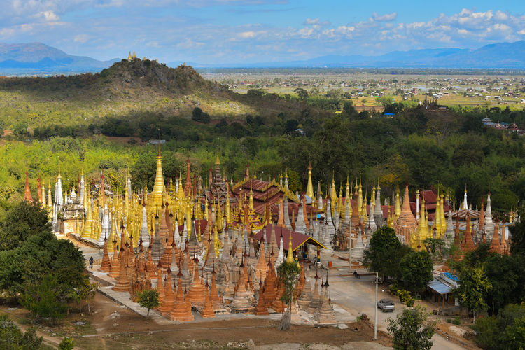 Kakku pagodas complex in the hills overlooking the valley South East of Inle Lake. Believe Built Structure Complexity Faith Famous Place Kakku Nature No People Outdoors Pagodas Religion Travel Destinations Tree Valley