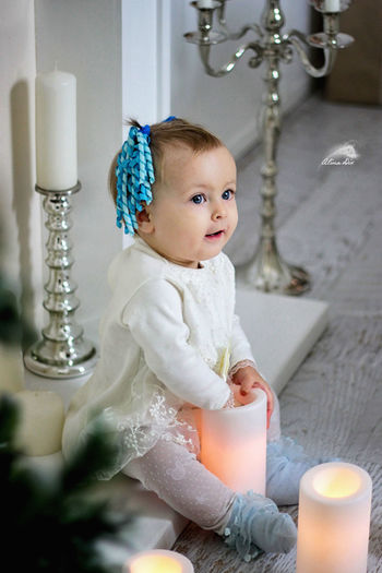 Cute baby at home