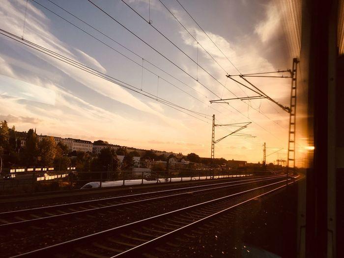 Backgrounds Berlin City Life On My Way Railroad Track Sky Sunset Cloud - Sky Railroad Track Rail Transportation Nature Track No People Orange Color Transportation