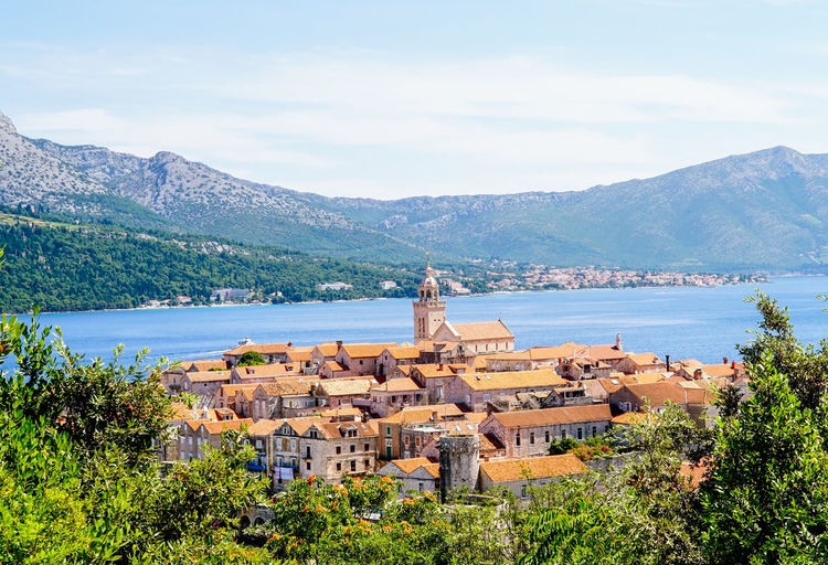 View at Korcula Adriatic Sea Architecture City City, Historical, Biblical, Ancient Coastal Feature Croatia Day Korčula Lake Mountain Mountains No People Outdoors Place Of Worship Religion Sky Travel Destinations Tree Water