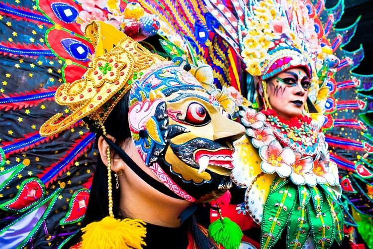 Colour Of Life at Malang INDONESIA can be seen while Malang Flower Carnival This is Traditional Malang Mask or Topeng Malang when perform in Colaboration with Extravaganza and Contemporary Costume