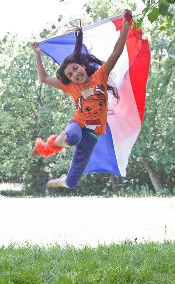 Beautiful Girl Dutch Jumping Girl World Cup Supporter Dutch Flag