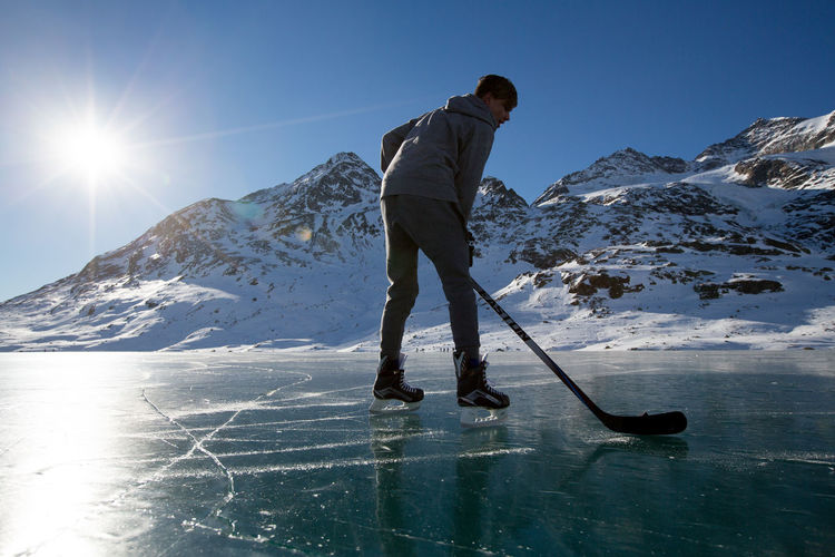 Cold Temperature Day Frozen Lake Ice Hockey Ice Skating ❄ Lago Bianco Mountains Nature Photography Outdoors Switzerland