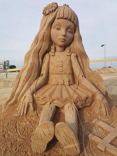Sand Beach Outdoors Sand Sculpture Sand Sculptures Sand Scalpture Sand Doll