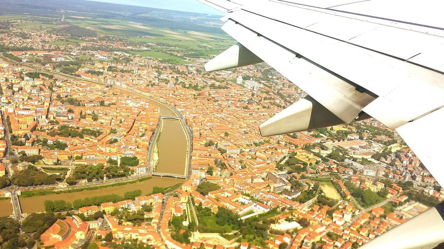 Aerial View Architecture Airplane Flying Travel Destinations Photoshoot Photography Photographer Focus On Foreground Travel Italia Multi Colored Pisa Fiume Arno Neighborhood Map