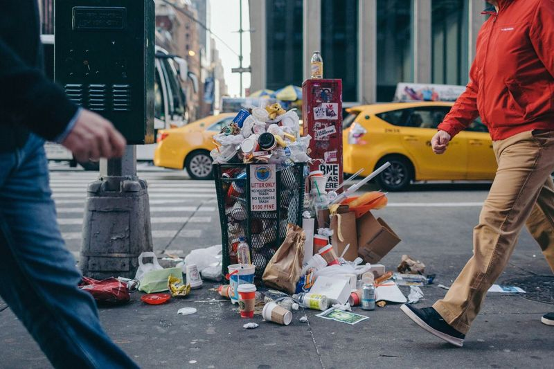 Street City Industry Building Exterior Outdoors Men Day Occupation Human Hand Manual Worker Human Body Part Architecture People Adult 5thavenue Midtown Manhattan Trash Trashcan New York City The Great Outdoors - 2017 EyeEm Awards