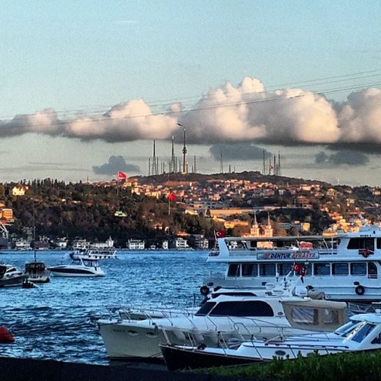 Istanbul Bebek Coast Sky blue white cloud sea boat bosphorus