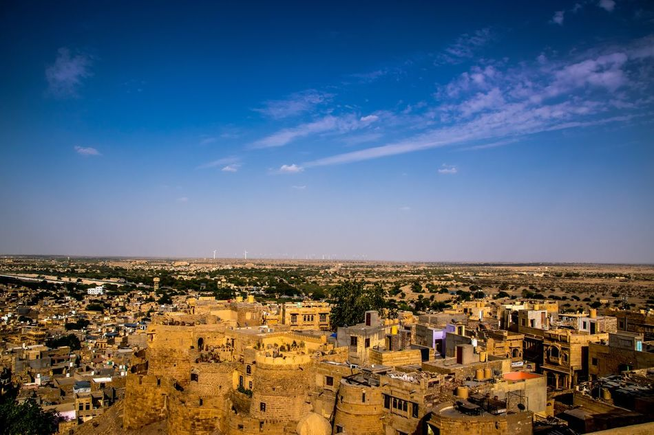 Architecture Building Exterior Built Structure City Cityscape Day High Angle View Horizon Over Land Jaisalmer Fort Nature No People Open Sky Outdoors Rajasthani Culture Residential Building Sky Town Travel Destinations