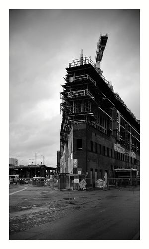 Crane Built Structure Building Exterior No People Sign Construction Construction Site Gray Sky Gray Day Architecture Government Outdoors Archival Sky Business Finance And Industry Day City Seattle Black And White Friday