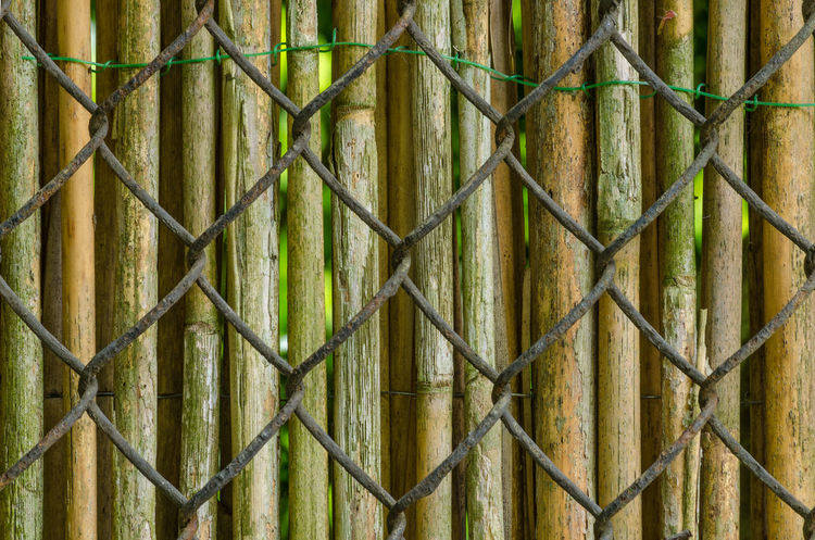 Backgrounds Bamboo - Plant Bamboo Fence Chainlink Fence Close-up Crisscross Fence Full Frame Metal No People Outdoors Pattern Textured