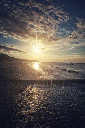 At the beach after work Beautiful Sunset Ostsee Sunset And Clouds  Baltic Sea Rostock