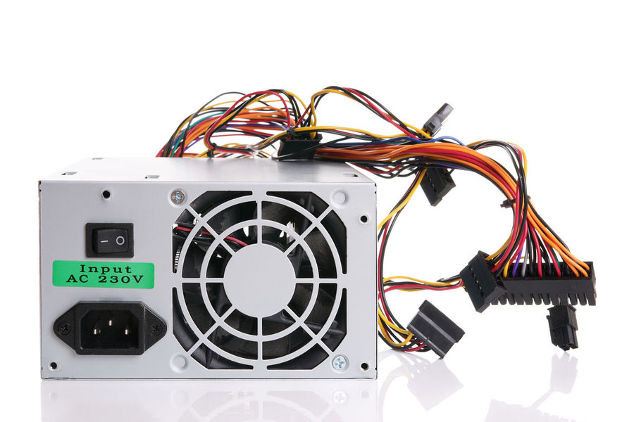 PSU power supply unit for computer Cable Computer Hardware IT No People Part Of Power Supply Power Supply Unit PSU Reflection Technology White Background