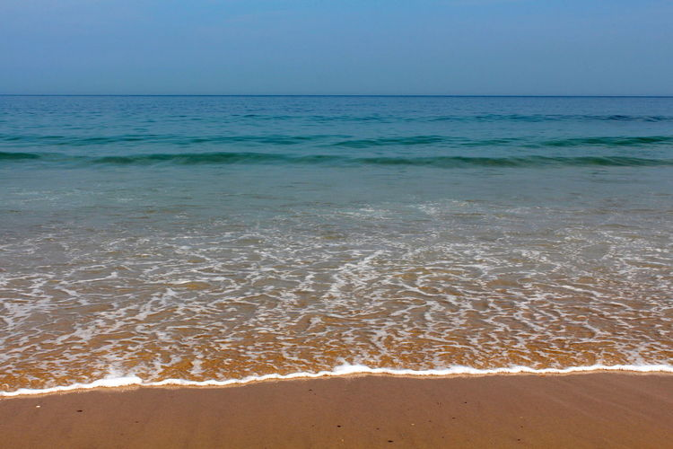 Gold Beach Beauty In Nature Blue Day Horizon Over Water Nature No People Outdoors Sand Sandy Sea Sky Tranquil Scene Tranquility Travel Destinations Water Wave White Yellow