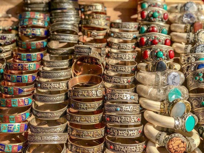 Shops in Thamel, Kathmandu Nepal Antique Art And Craft Bracelet Close-up For Sale Jewelry Large Group Of Objects Market Retail  Retail Display