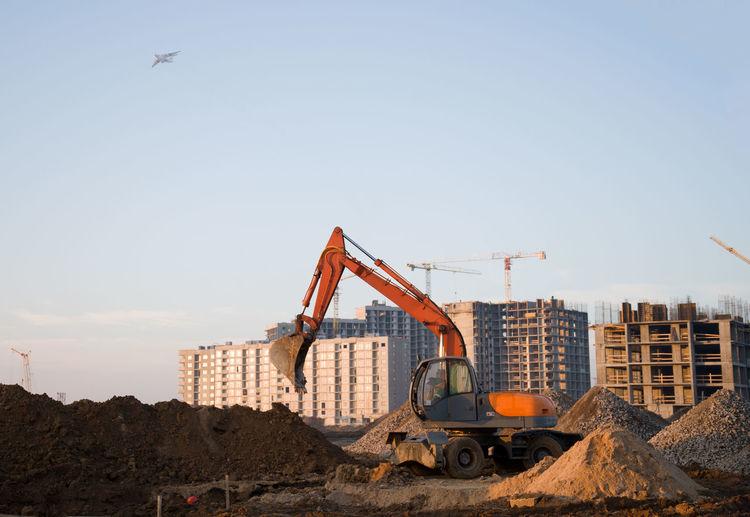 Construction site against clear sky