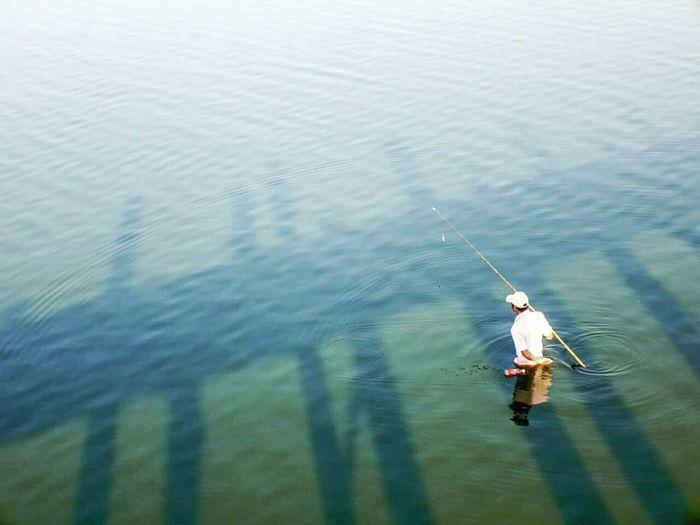 Fishing Turquoise Water Bridge Reflection Sea Calm Solitude Lonely White Ubein Ubeinbridge Mandalay Myanmar Fresh On Eyeem