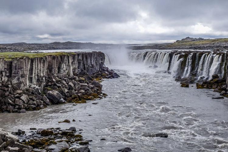 Selfoss Waterfall, Northeast Region. Iceland. Breathtaking Iceland Cascade Powerful River Selfoss Waterfall Wilderness