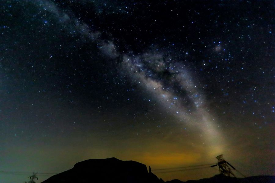 Overnight Success Astronomy Tranquil Scene Star - Space Beauty In Nature Galaxy Sky Milky Way Majestic Star Field Scenics Electrifying Sky Electricity Tower