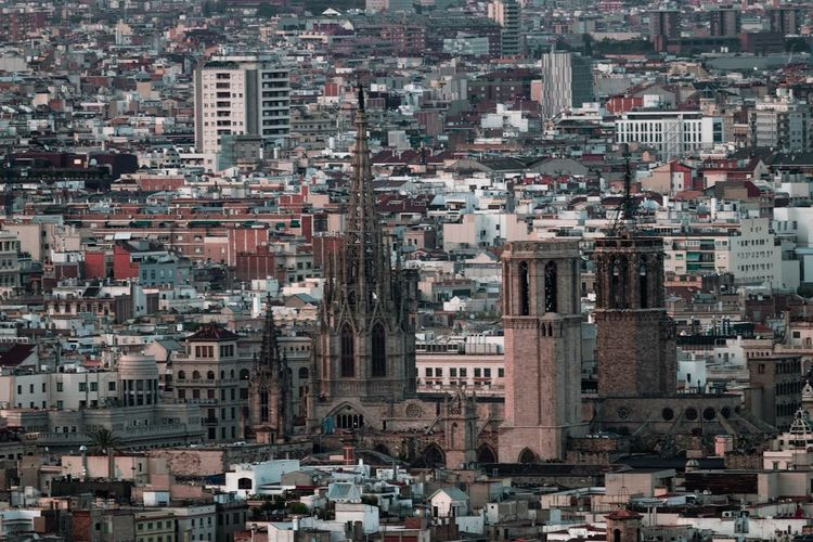Structure Barcelona Cathedral Cathedral Urban Skyline City Barcelona Building Exterior Architecture Built Structure Residential District Building Crowded Cityscape High Angle View Town City Life Day TOWNSCAPE House