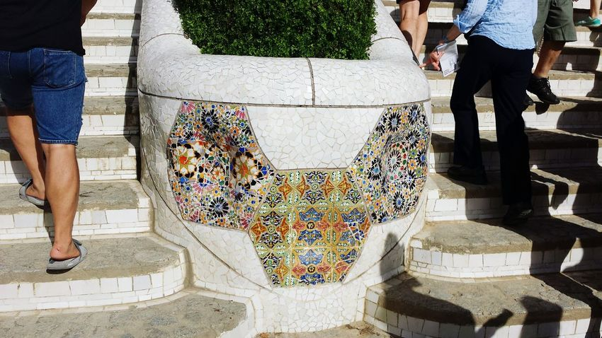 Colorful Shards Park Guell Wow! Barcelona Taking Photos Enjoying This Beautiful Wheather Beautiful Day Have A Lot Of Fun  Relaxing View