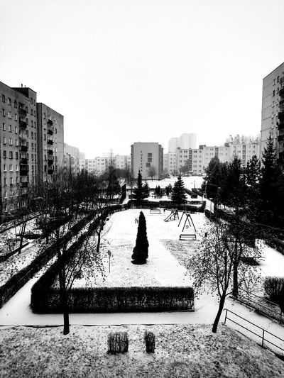 Snow Morning Snowing Buildings Trees Playground View From The Window... City Cityscapes Blackandwhite Black And White Black & White Street Photography Moto X Wasiak Showcase: January