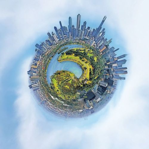 Vibrant Color Aerial View Nature Lake Lake View Landscape Australia World Tiny Planet Cloud - Sky Taking Photos Cloud - Sky Architecture Sky Fish-eye Lens Digital Composite Built Structure Nature Building Building Exterior Distorted Image Circle Office Building Exterior Planet Earth Sphere Outdoors Skyscraper City Shape Day