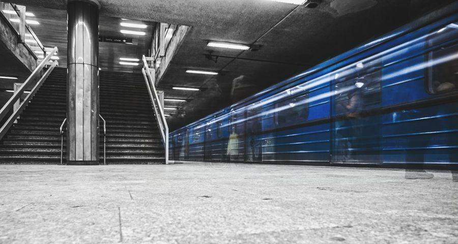 Built Structure Architecture Illuminated No People Day Indoors  Subway Subway Station Nd1000 Budapest Budapest, Hungary Train Metro Black Blackandwhite Blue Underground Tunnel Dark Longexpo