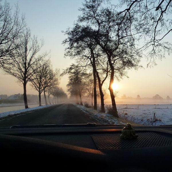 On the road. Wintertime Winter Wonderland Roadtrip Early Morning Snow ❄ Sunrise Car Travel