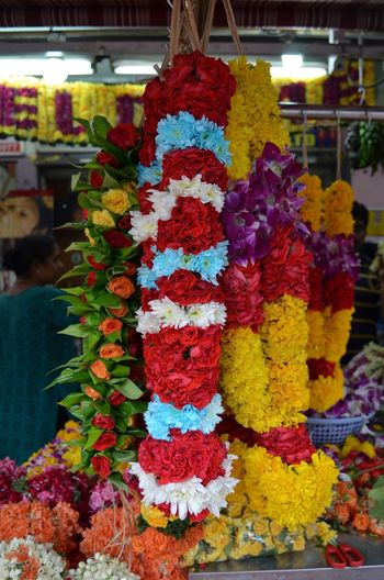 Hanging For Sale Retail  Multi Colored Flower Variation Market Freshness No People Day Choice Outdoors Close-up Garland Little India Indian Quarter  Singapore Flower Garland