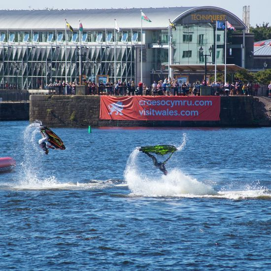Power boat stunts in Cardiff bay Water Waterfront Outdoors Boats Stunts
