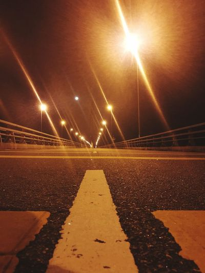 Paint The Town Yellow Road Marking Middle Of The Road Nightlife Nightphotography Bridge - Man Made Structure Insane EyeEmNewHere