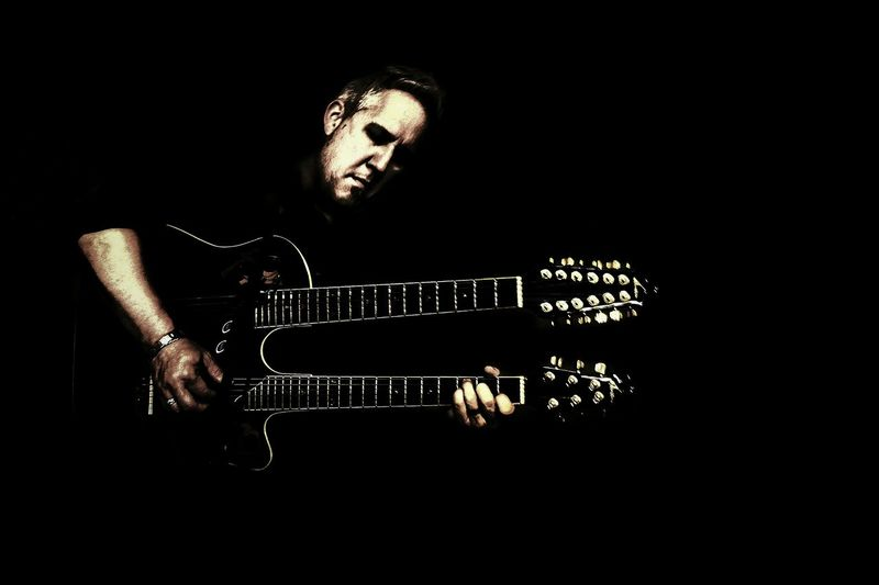 Blues Rock'n'Roll Musician Music Black Background Playing Guitar Guitar Double Neck Guitar Black And White Guitar Player Guitar Strings Pensive