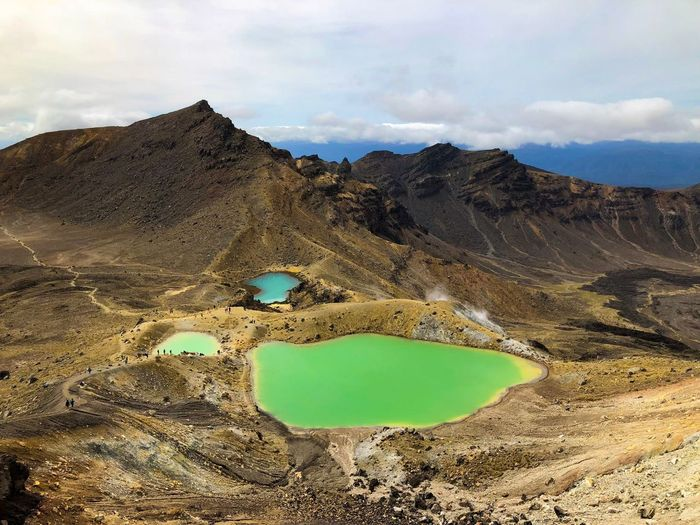 Tongariro Alpine Crossing NZ New Zealand Lakes  Tongariro Crossing Alpine Emerald Sky Cloud - Sky Land Nature Tranquil Scene Tranquility Scenics - Nature Beauty In Nature Water Mountain Landscape Day Non-urban Scene