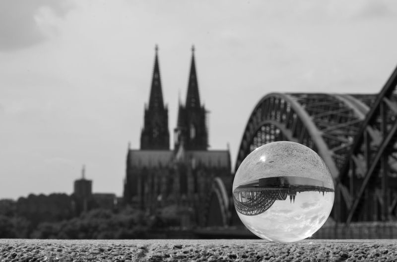 Architecture Black And White Building Exterior Built Structure Church City Close-up Cologne Cologne Cathedral Crystal Ball Focus On Foreground Köln Outdoors
