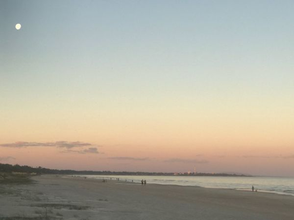 Sunset and full moon Water Sky Sea Beach Land Scenics - Nature Beauty In Nature Sunset Tranquility Tranquil Scene Horizon Nature Horizon Over Water Incidental People Sand Copy Space Orange Color Idyllic Dusk Outdoors