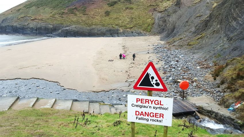 Sunday Beach Danger Warning Sign Family Wales❤ Wales Cliff Mwnt West Wales Rocky Beach