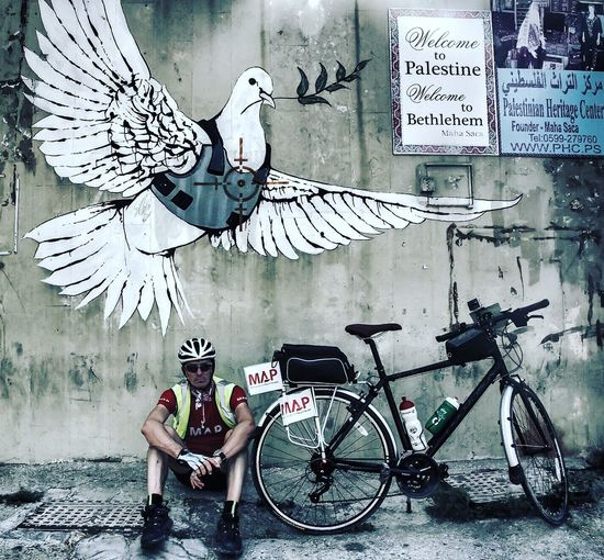 Peace dove banksy. From the Medical Aid for Palestinians charity bike ride in Palestine Cycling Banksy