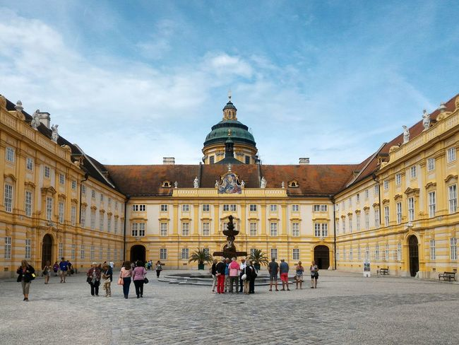 Stift Melk Architecture Travel Destinations History Built Structure Building Exterior Palace Statue Travel Façade Sky City Large Group Of People Outdoors Day Royalty People Politics And Government Melk Wachau Town City Nature Travel Austria Österreich