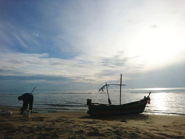 Thailand Water Sea Nautical Vessel Beach Fisherman Full Length Fishing Men Sky Horizon Over Water