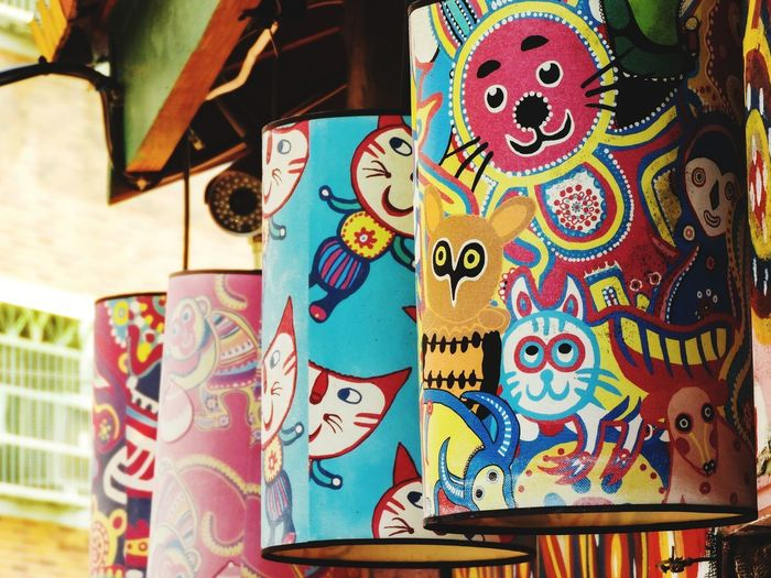 Close-up of multi colored art for sale in market